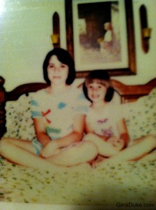 Me and my little cousin Kim sitting on my bed before bedtime.  I was in the 6th grade and she was in 1st.